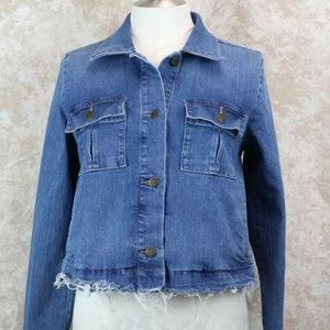 Loft Made and Loved denim jacket raw hem Med